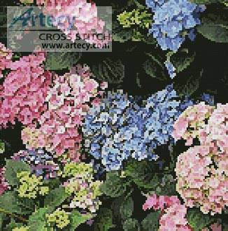 cross stitch pattern Hydrangeas