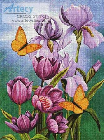 cross stitch pattern Irises and Tulips