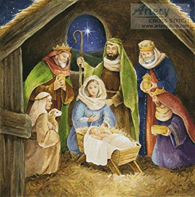 Nativity Painting Cross Stitch Pattern Christmas