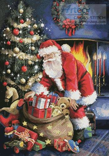 cross stitch pattern Santa at the Tree