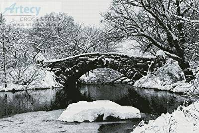cross stitch pattern Lake and Bridge in Winter