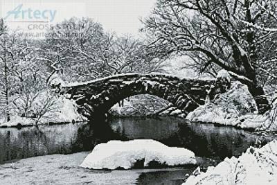 cross stitch pattern Lake and Bridge in Winter