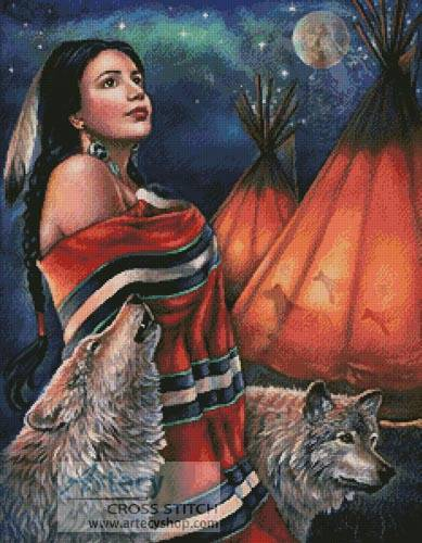 cross stitch pattern Legend of the Wolf Maiden