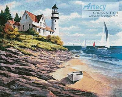 cross stitch pattern Lighthouse Cove