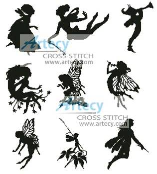cross stitch pattern Little Fairy Silhouettes