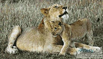 cross stitch pattern Lioness and Cub