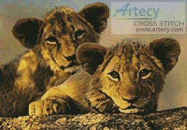 cross stitch pattern Lion Cubs