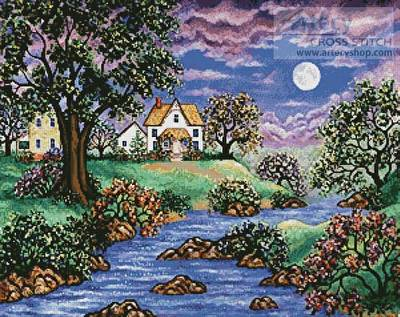 cross stitch pattern Brookside Cottage