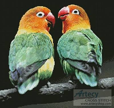 cross stitch pattern Lovebirds