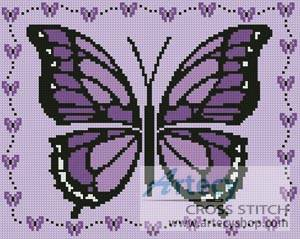 cross stitch pattern Little Purple Butterfly Sampler