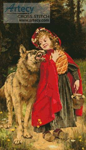 cross stitch pattern Little Red Riding Hood
