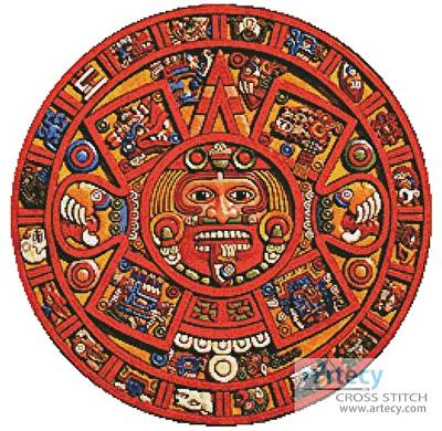 cross stitch pattern Mayan Doomsday Calendar