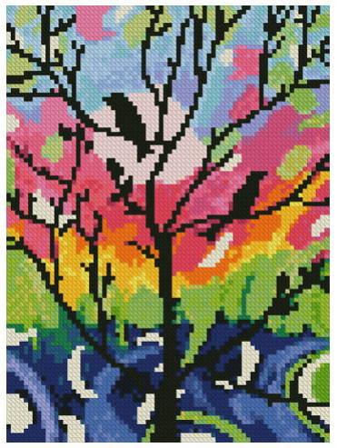 cross stitch pattern Mini Birds in Tree