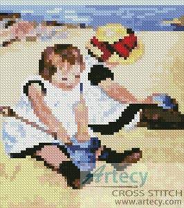 cross stitch pattern Mini Children Playing on the Beach