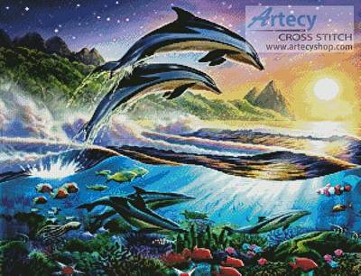 cross stitch pattern Atlantic Dolphins