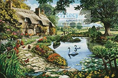 cross stitch pattern Cottage by the lake