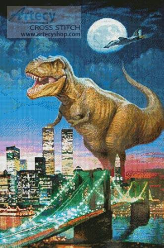 cross stitch pattern Dinosaur in New York