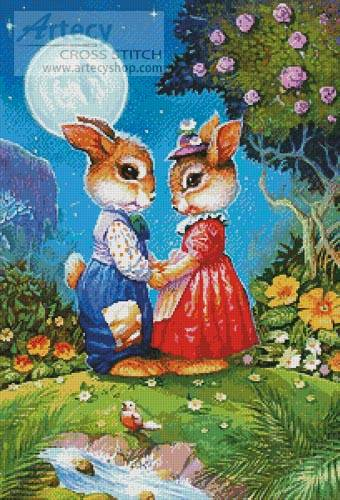 cross stitch pattern Rabbits in the Moonlight