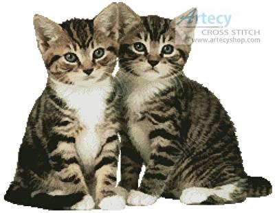 cross stitch pattern Two Tabby Kittens