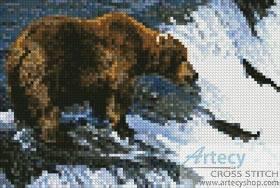 cross stitch pattern Mini Grizzly Bear Salmon Fishing