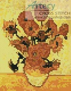 cross stitch pattern Mini Fourteen Sunflowers