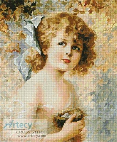 cross stitch pattern Girl Holding a Nest