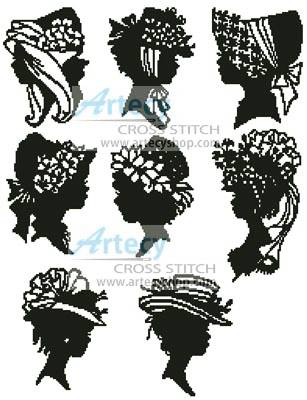 cross stitch pattern Mini Lady Silhouettes