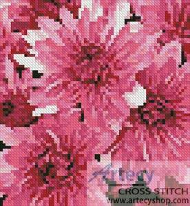 cross stitch pattern Mini Pink Chrysanthemums