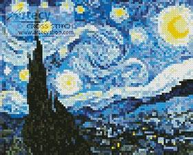 cross stitch pattern Mini The Starry Night Blue
