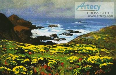 cross stitch pattern Morning Mist, Monterey Coast