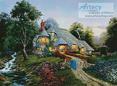 cross stitch pattern Moonrise Over Stone Cottage