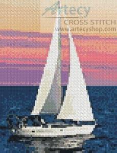 cross stitch pattern Mini Sailing at Sunset