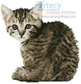 cross stitch pattern Mini Timid Kitten