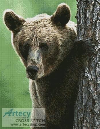 cross stitch pattern Peekaboo Bear