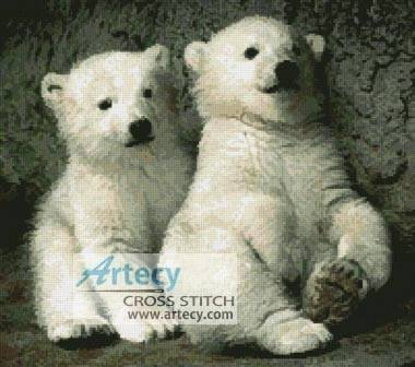 cross stitch pattern Polar Bear Cubs 2