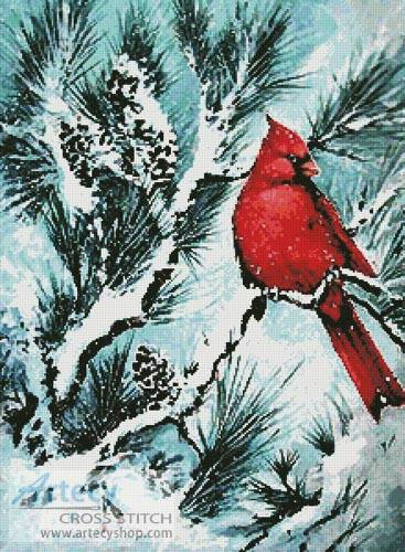 Winter S Glory Red Bird Cross Stitch Pattern Birds
