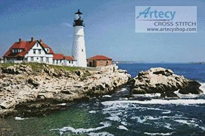 cross stitch pattern Portland Head Lighthouse