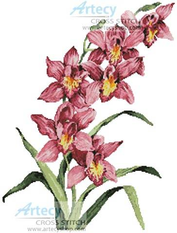 cross stitch pattern Pink Cymbidium
