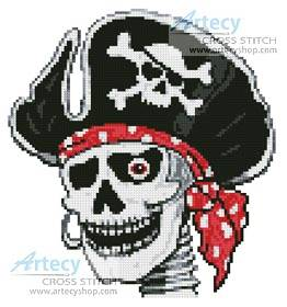 cross stitch pattern Pirate Skeleton