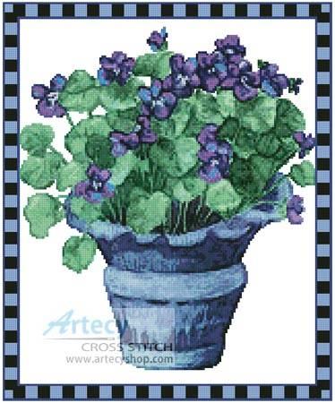 cross stitch pattern Pot of Violets