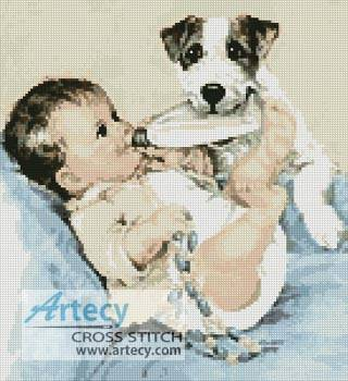 cross stitch pattern Puppy and Baby