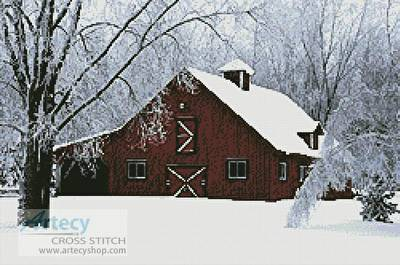 cross stitch pattern Red Barn in Snow