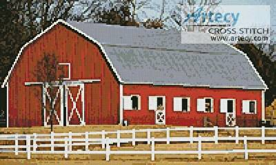 cross stitch pattern Red Barn