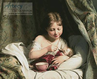 cross stitch pattern Girl Feeding her Doll