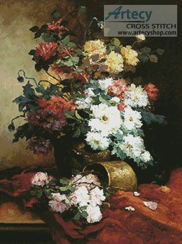 cross stitch pattern Roses and Dahlias