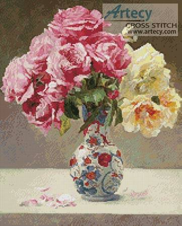 cross stitch pattern Roses in an Oriental Vase