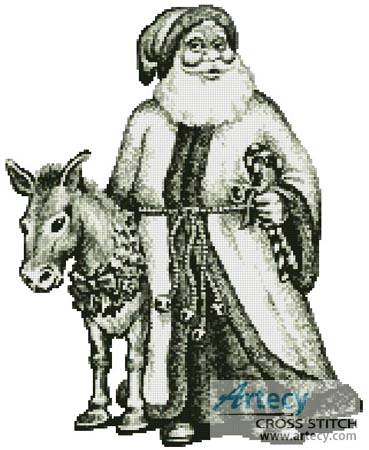 cross stitch pattern Santa and Donkey