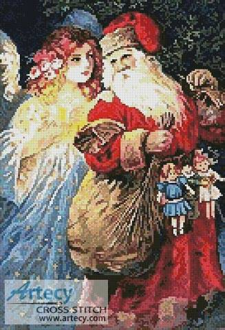 cross stitch pattern Santa and Angel