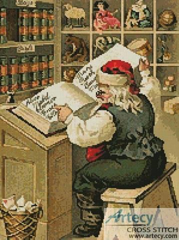 cross stitch pattern Santa's List