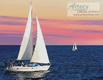 cross stitch pattern Sailing at Sunset